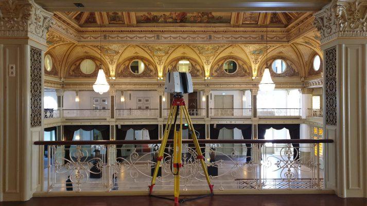 3D Inmeting grote zaal Kurhaus voor videoprojectie