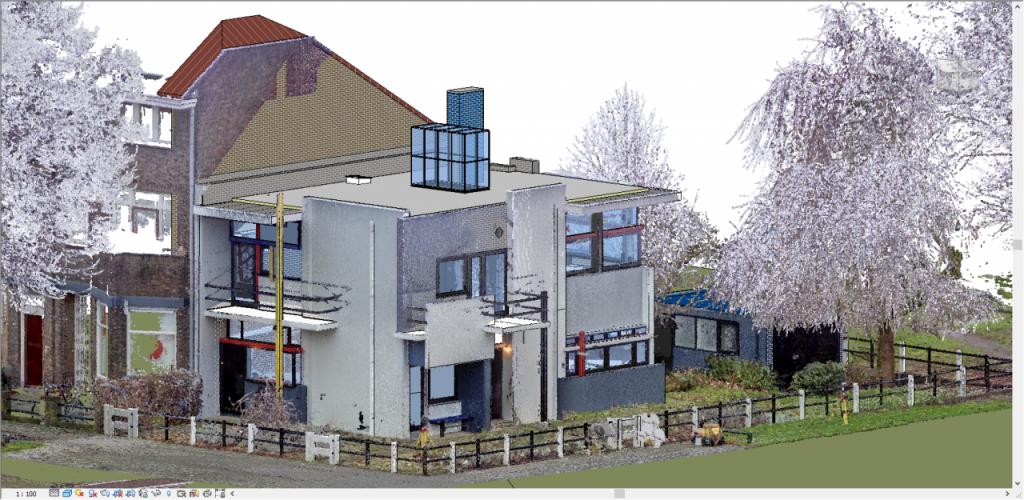 Overlappende pointcloud en 3D model van het Rietveld Schröderhuis. De werkelijke maten en kleuren zijn gevat in meetpunten en precies 'overgetrokken' voor het 3D model.