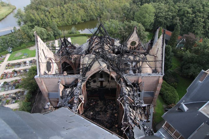 3D scan afgebrande kerk voor restauratie