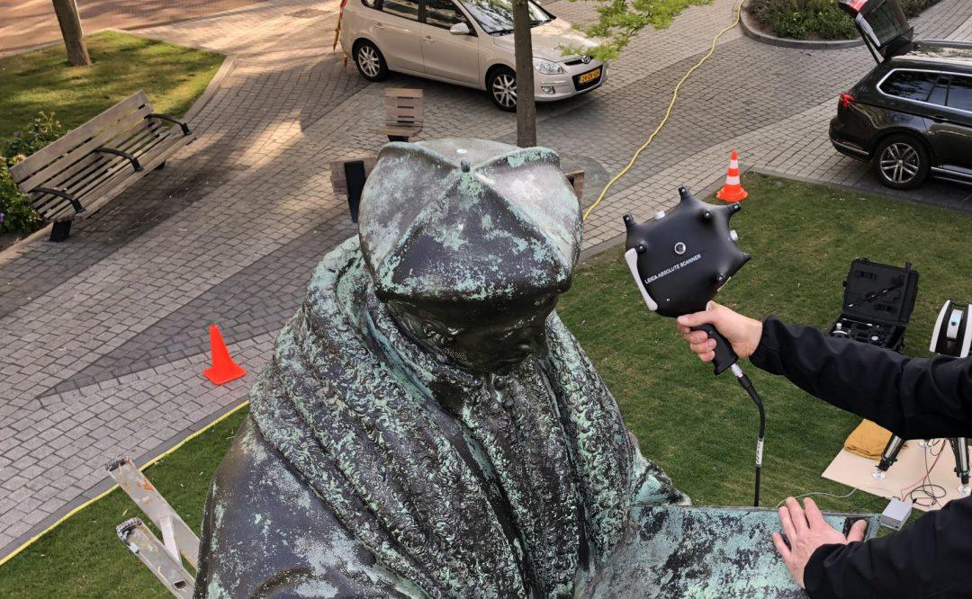 Erasmusbeeld Rotterdam: 3D scan met handscanner